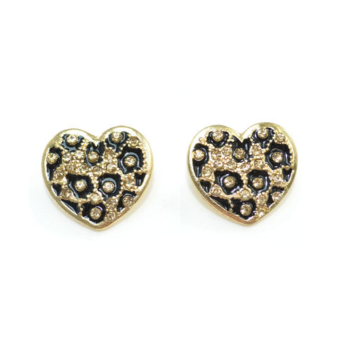 LEOPARD,HEART,SHAPE,EARRING