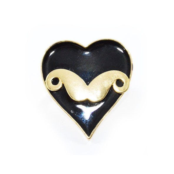 LARGE GOLD TONE MUSTACHE WITH HEART RING - product image