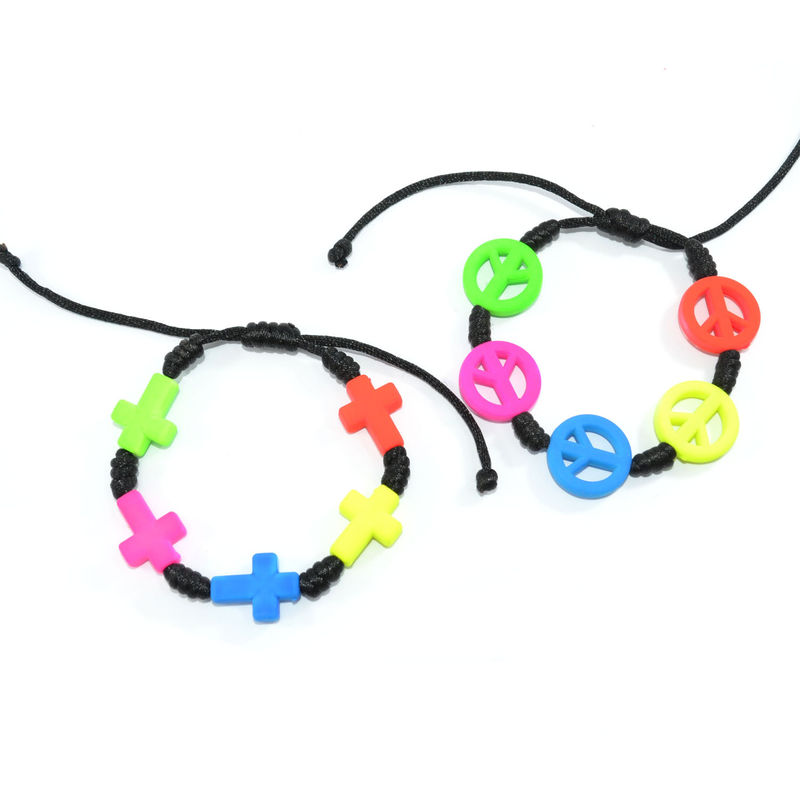 WOVEN STRING WITH NEON CHARMS BRACELET - product image