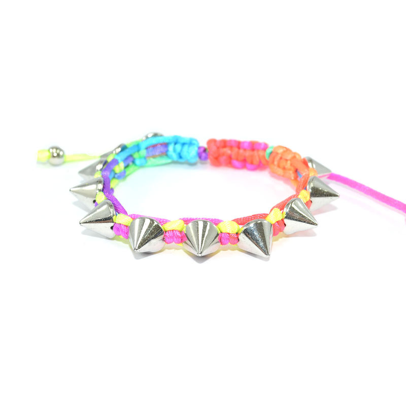 WOVEN STRING WITH CONICAL SPIKE BRACELET - product image
