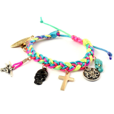 WOVEN,STRAPS,WITH,MULTI,PENDANTS,BRACELET