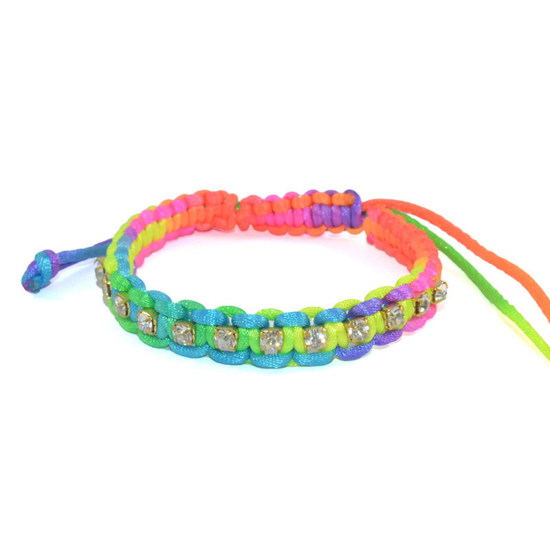 WOVEN COLORFUL STRAP WITH CRYSTAL DECOR BRACELET - product image