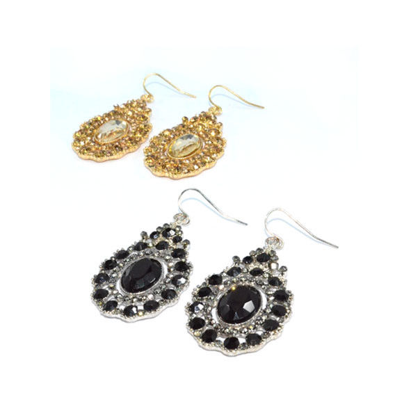 WATER DROP SHAPE VINTAGE STYLE CRYSTALS DECORATION DROP EARRINGS - product image