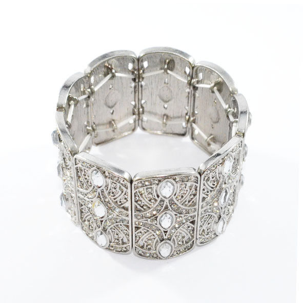 VINTAGE STYLE SILVER TONE PATTERN WITH CRYSTALS ELASTIC BANGLE - product image