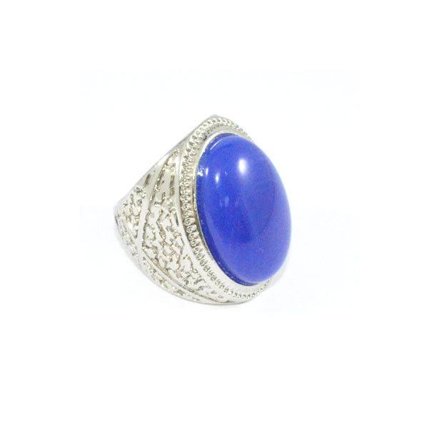 VINTAGE STYLE SILVER TONE PATTERN WITH BLUE GEM RING - product image