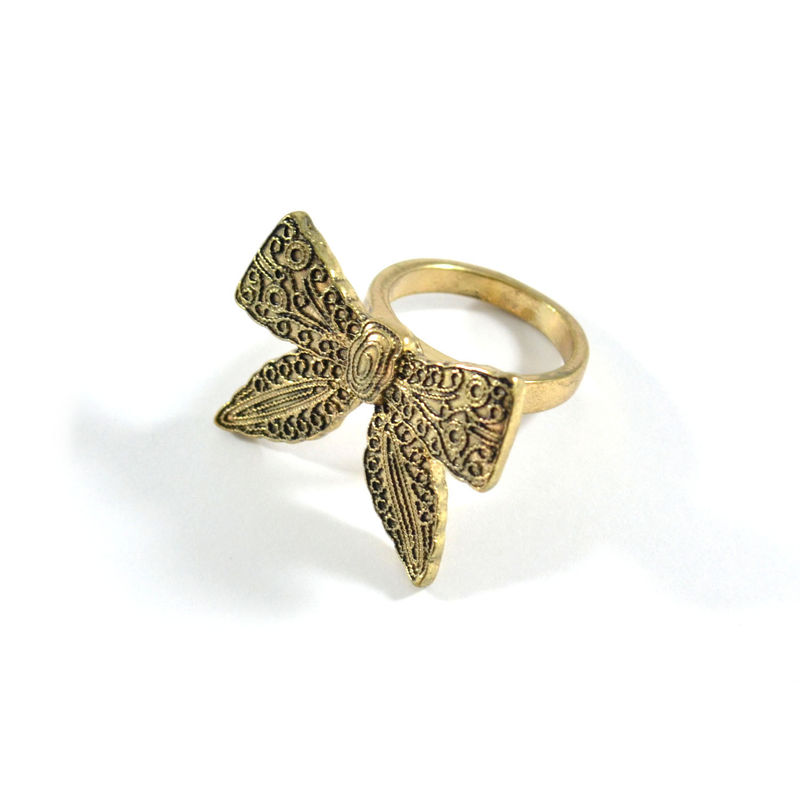 VINTAGE STYLE PATTERN BOW RING - product image