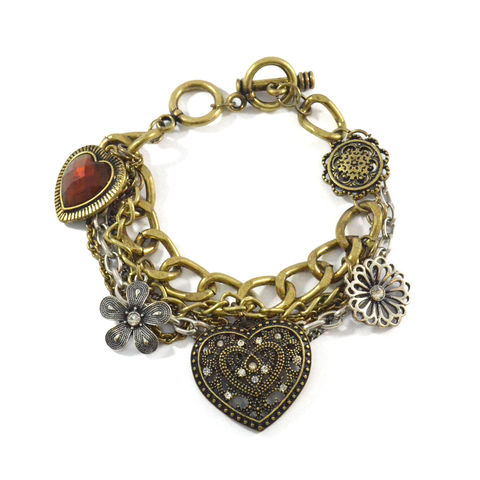 VINTAGE,STYLE,MULTI,CHAIN,AND,PENDANT,BRACELET