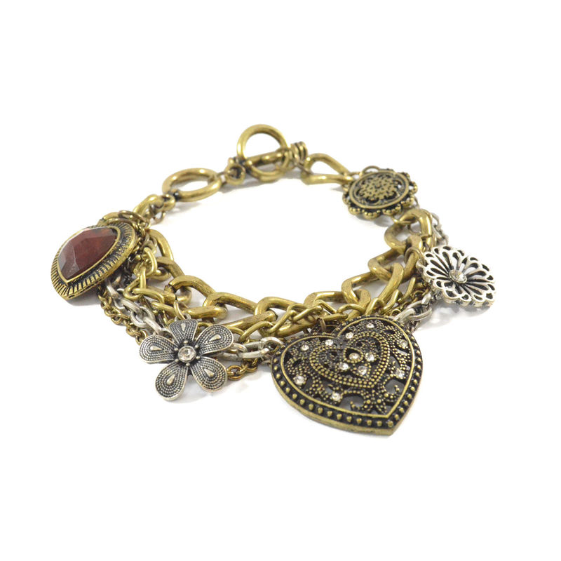 VINTAGE STYLE MULTI CHAIN AND PENDANT BRACELET - product image