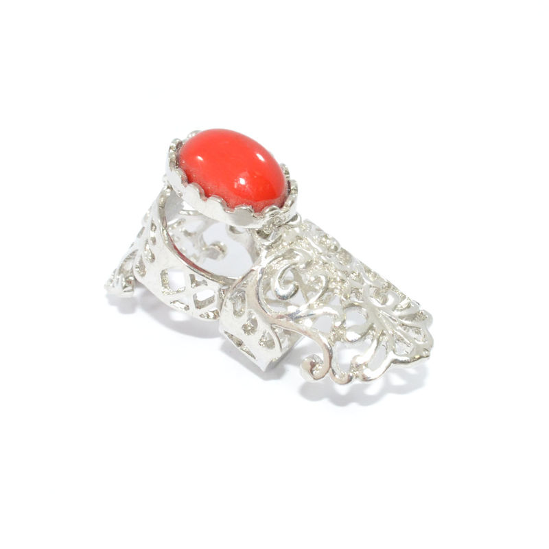 VINTAGE STYLE HOLLOW PATTERN WITH GEM MOVABLE KNUCKLE RING - product image