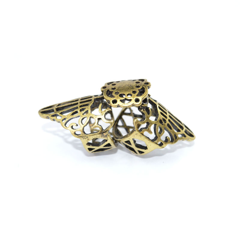 VINTAGE STYLE HOLLOW PATTERN MOVABLE KNUCKLE RING - product image