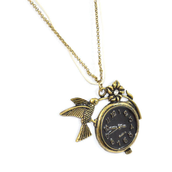 VINTAGE STYLE FAUX CLOCK WITH BIRD AND CRYSTAL FLOWER DOUBLE STRAP NECKLACE - product image
