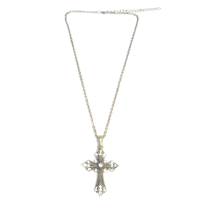 VINTAGE STYLE CRYSTAL CROSS NECKLACE - product image
