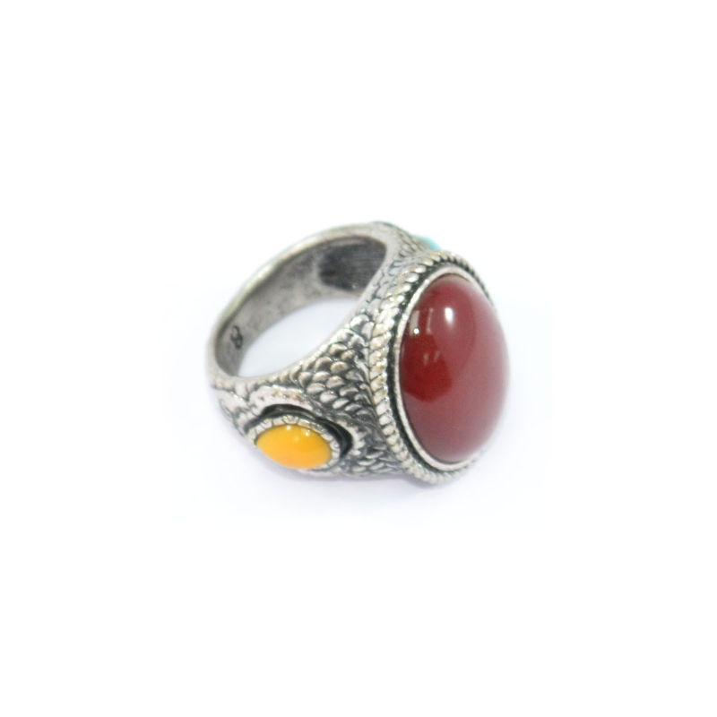 VINTAGE SILVER WITH COLOUR GEMS RING - product image