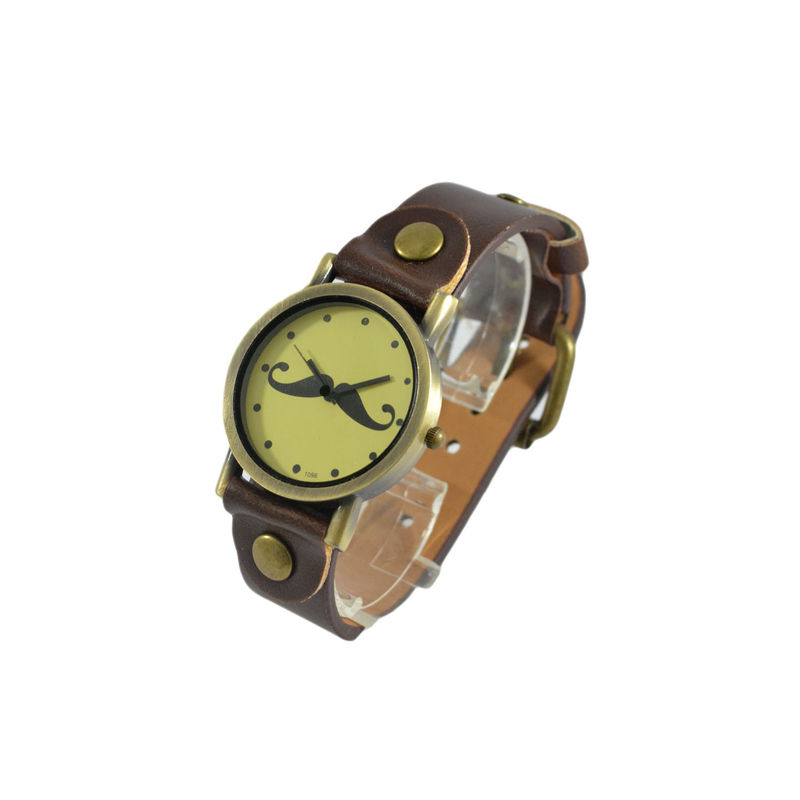 VINTAGE MUSTACHE LEATHER WATCH - product image