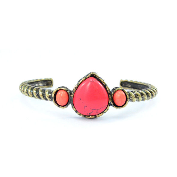 VINTAGE GOLD WITH MAGENTA STONES BANGLE - product image