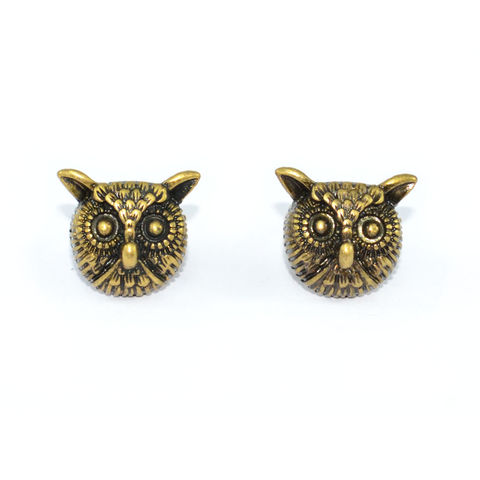 VINTAGE,GOLD,OWL,HEAD,EARRINGS
