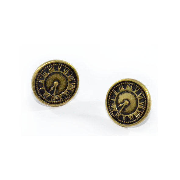 VINTAGE GOLD FAUX CLOCK EARRINGS - product image