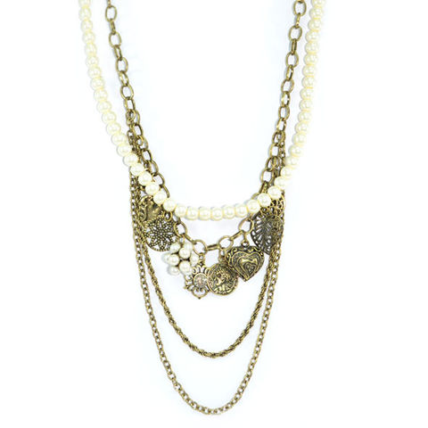 VINTAGE,GOLD,AND,PEARL,CHAIN,MULTI,PENDANTS,NECKLACE