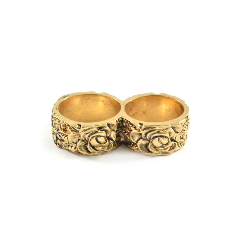 VINTAGE FLOWER PATTERN DOUBLE RING - product image