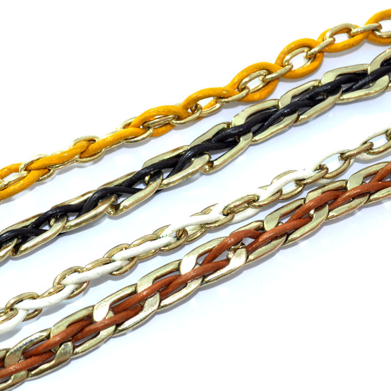 TWO TONE WOVEN CHAIN AND STRING BRACELET - product image