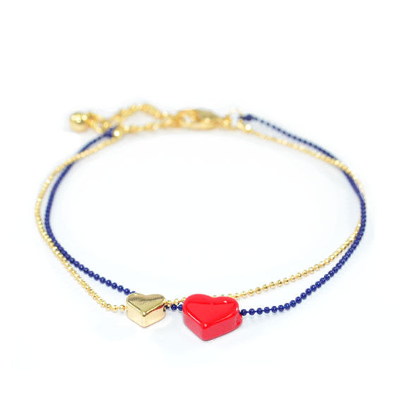 TWO TONE CHAIN DOUBLE HEART PENDANTS BRACELET - product image