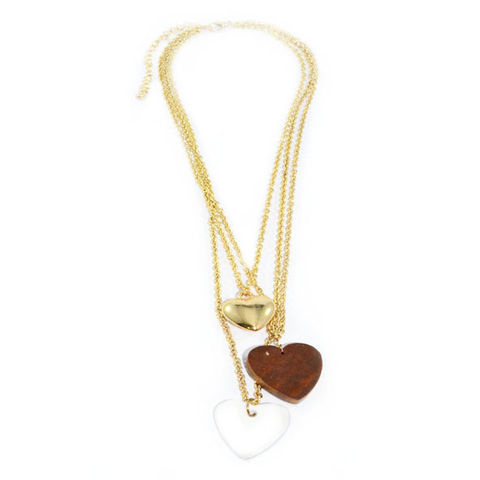 TRIPLE,GOLD,TONE,CHAINS,WITH,THREE,HEART,PENDANTS,NECKLACE