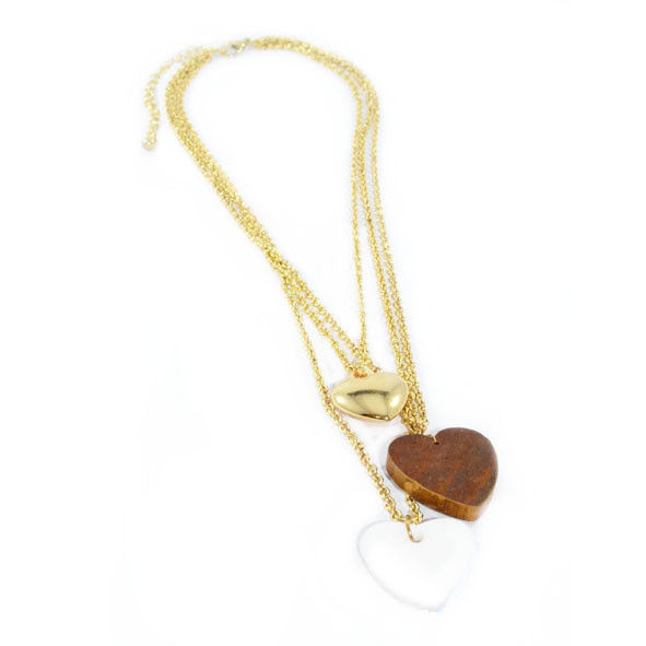 TRIPLE GOLD TONE CHAINS WITH THREE HEART PENDANTS NECKLACE - product image
