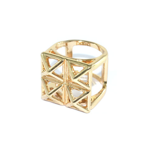 TRIANGLE,CUBE,RING,multi triangle ring, gold triangle ring