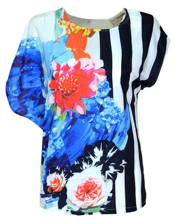STRIPE AND FLORAL TOP - product image