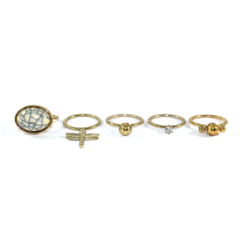 STONE AND DRAGONFLY RING SET - product image