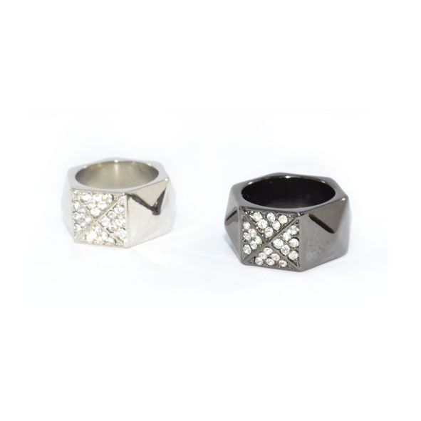 SQUARE PYRAMID WITH CRYSTALS HEXAGON RING - product image