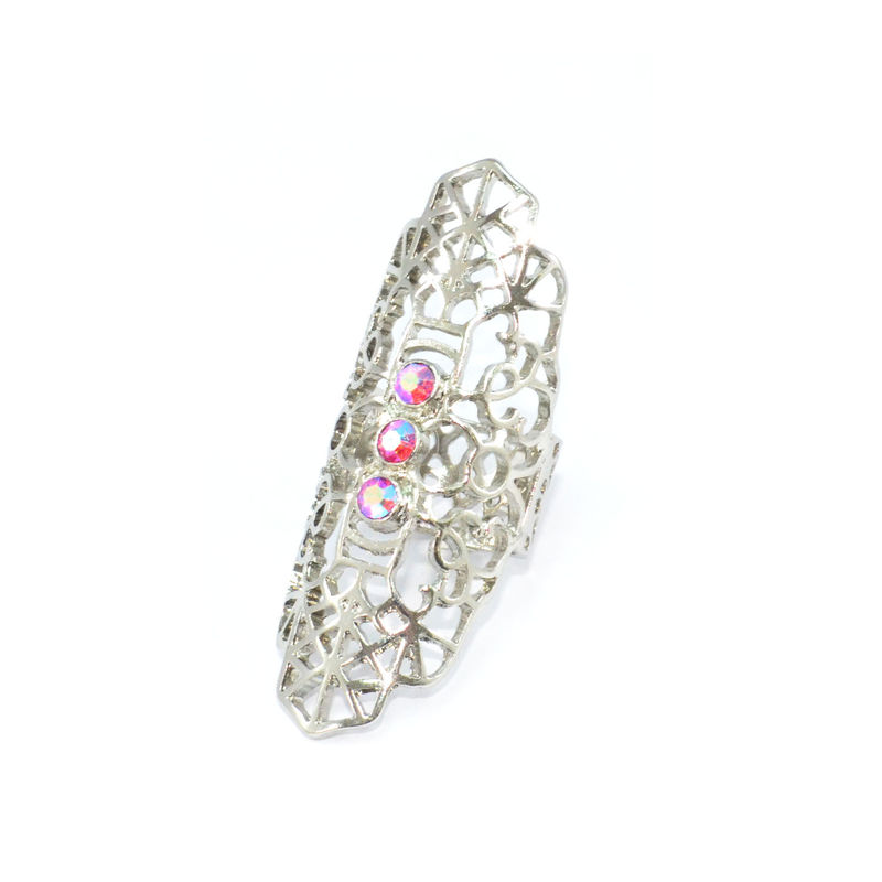 SILVER TONE HOLLOW PATTERN WITH PINK CRYSTALS RING - product image