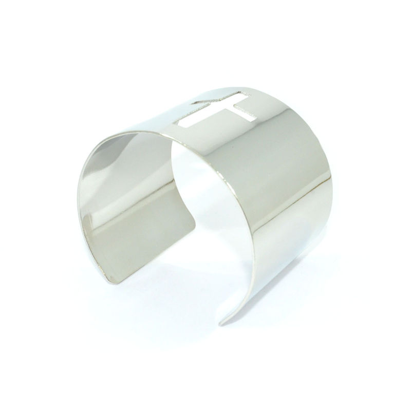 SILVER TONE HOLLOW CROSS BANGLE - product image
