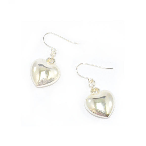 SILVER TONE HEART EARRINGS - product image