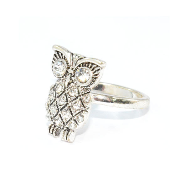 SILVER TONE CRYSTAL OWL RING - product image