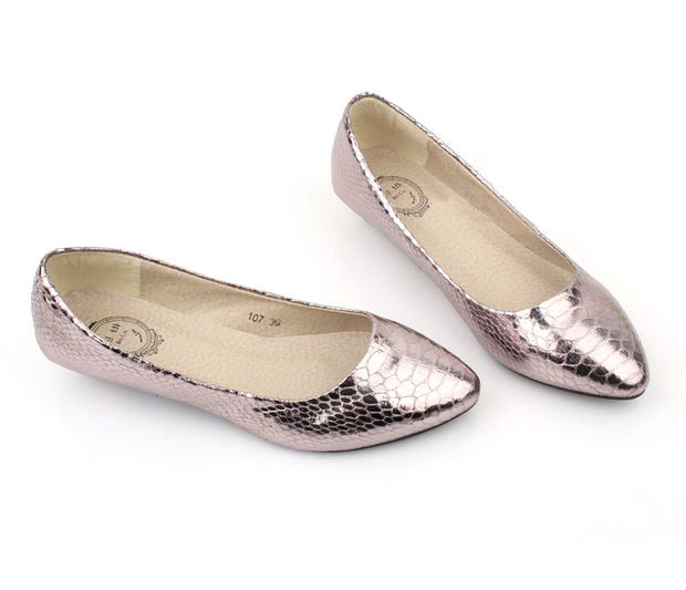 SILVER SNAKE SKIN FLATS - product image