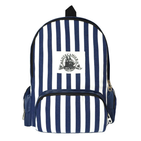 STRIPE,PATTERN,BACKPACK,BLUE STRIPES BACKPACK, BLUE AND WHITE STRIPES BACKPACK, STRIPES PATTERN BAG