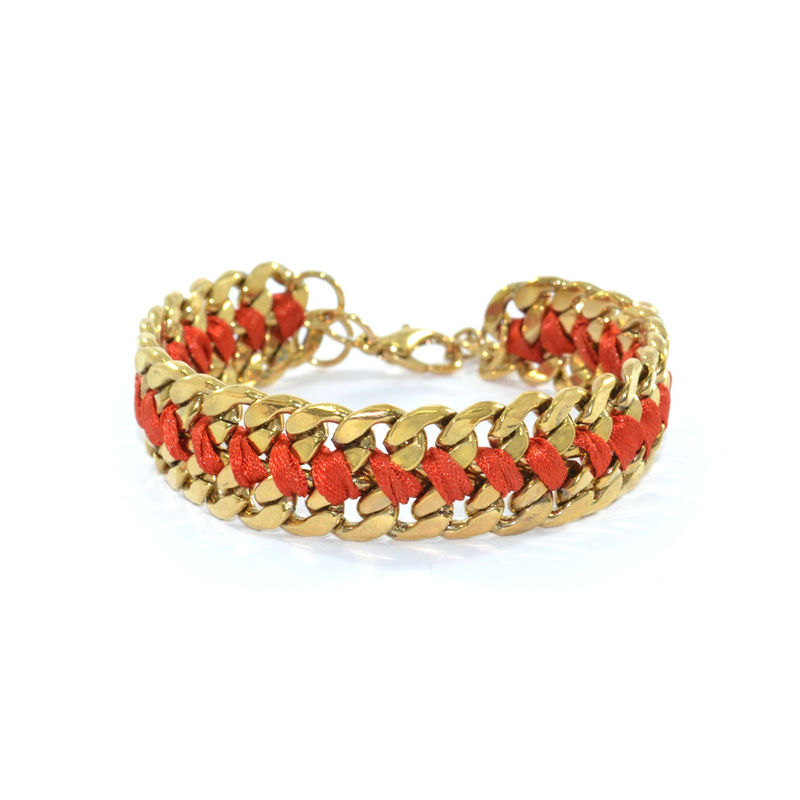 WOVEN STRING AND CHAIN BRACELET - product image