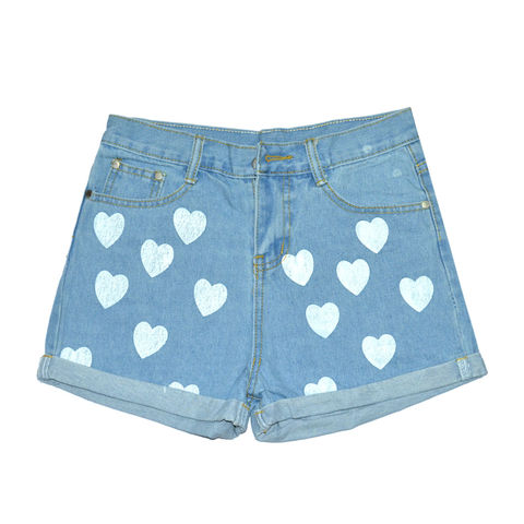 HEART,PATTERN,DENIM,SHORTS