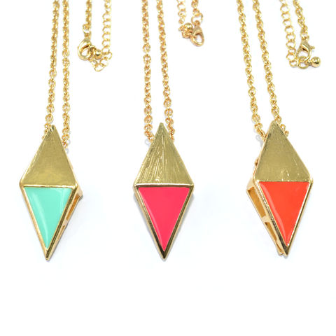 TWO,TONE,RHOMBUS,PENDANT,NECKLACE