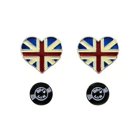 HEART,AND,DISC,EARRINGS,SET,UK FLAG HEART EARRING, HEART EARRINGS, DISC EARRINGS, UK FLAG EARRINGS