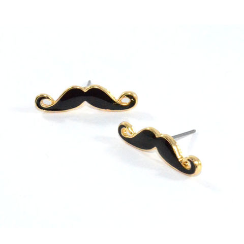 MINIMAL,MOUSTACHE,EARRINGS,MUSTACHE EARRING, BLACK MUSTACHE EARRING, GENTLEMEN MUSTACHE EARRINGS