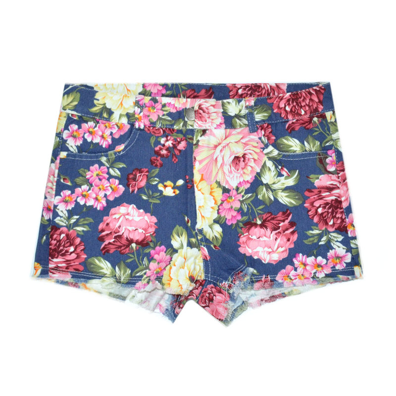 DENIM FLORAL PATTERN SHORTS - product image