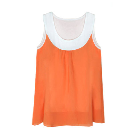 TWO,TONE,LAYERED,VEST,LAYERED VEST, ORANGE VEST, LAYERED ORANGE VEST, ORANGE SLEEVELESS TOP,CHIFFON SLEEVELESS TOP, ORANGE CHIFFON VEST