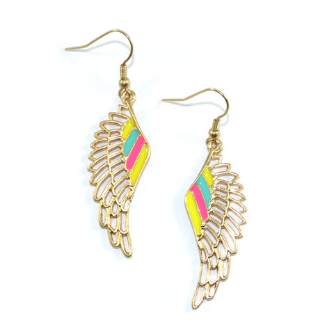 COLOURFUL,ANGEL,WING,EARRINGS,WING EARRING, ANGEL EARRINGS, ANGEL WING EARRINGS, WING DROP EARRINGS