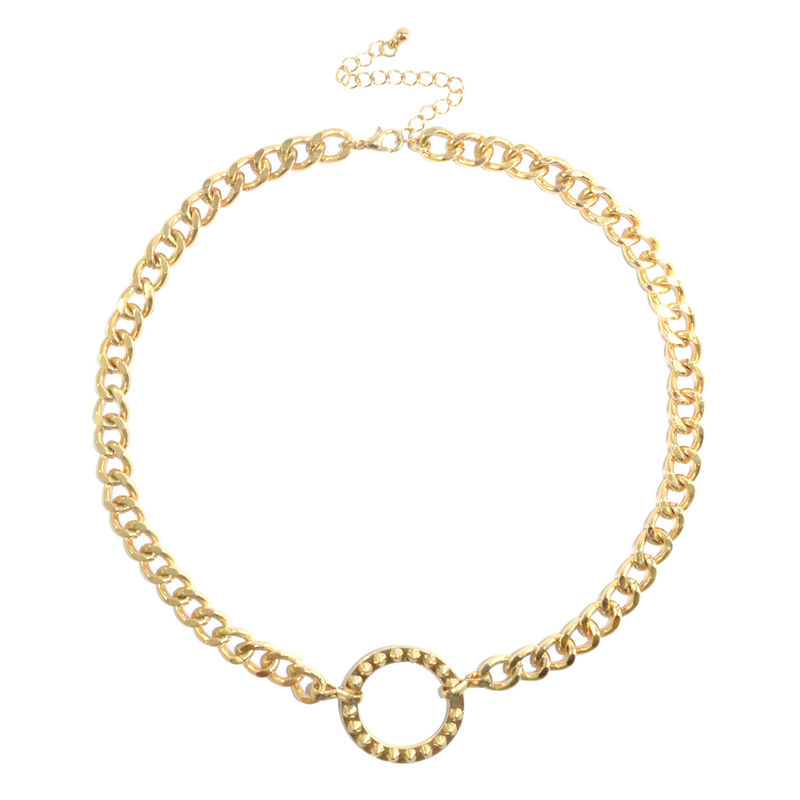 STUDDED CIRCLE PENDANT NECKLACE - product image