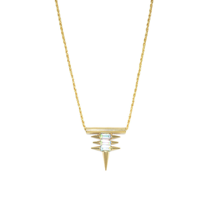MULTI SPIKES WITH CRYSTAL PENDANT NECKLACE - product image