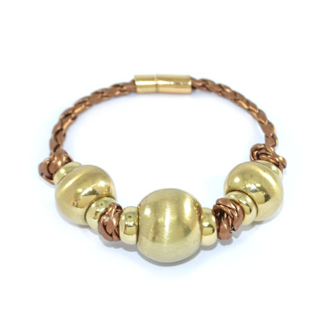 TRIPLE,BEADS,PENDANT,BRACELET,BEADS BRACELET, LARGE BEAD BRACELET, BEADS WITH TRAP BRACELET, GOLD BEADS WITH BRONZE STRAP BRACELET