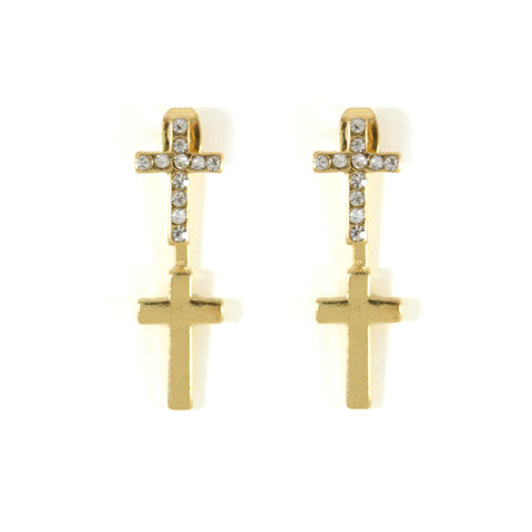 CLEAR,CRYSTAL,CROSS,EARRINGS,CROSS EARRINGS, CRYSTAL CROSS EARRINGS, DOUBLE CROSS EARRINGS