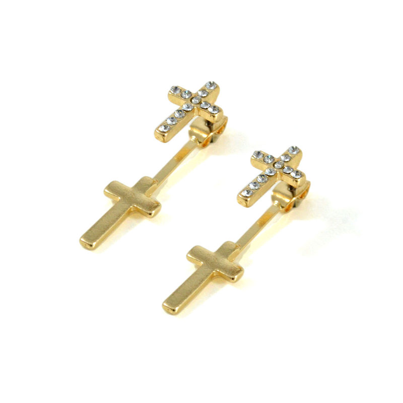 CLEAR CRYSTAL CROSS EARRINGS - product image